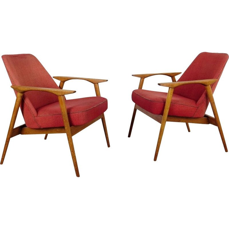 Pair of vintage Armchair by Miroslav Navratil Czechoslovakia 1960s