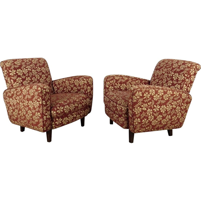 Pair of vintage Armchair by Jindrich Halabala Czechoslovakia 1940s
