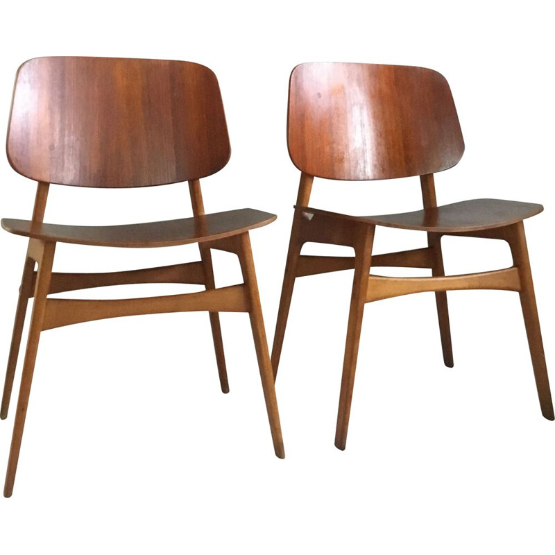 Pair of Mid-Century Danish Teak and Oak Chairs by Borge Mogensen for Soborg