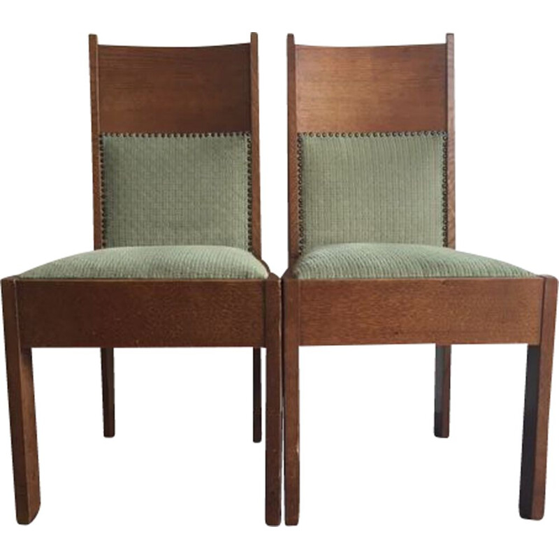 Pair of  vintage high back oak side chairs 1920