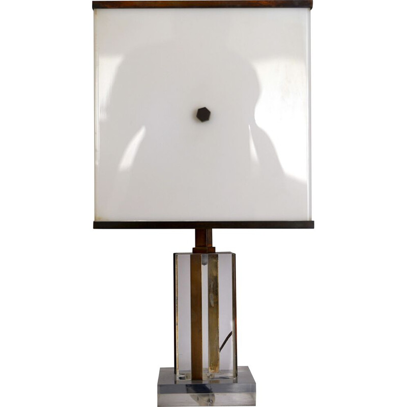 Vintage Romeo Rega Acrylic Plexiglass and Brass Table Lamp 1960s