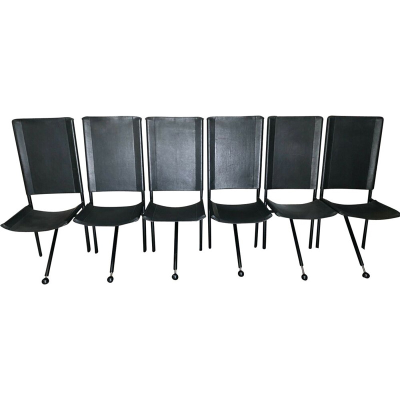 Set of 6 vintage tripod chairs in black leather and black metal 1970s