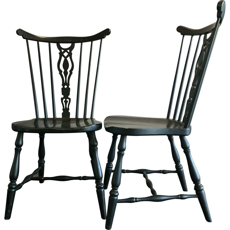 Pair of vintage black lacquered wooden chairs by Gemla Diö Sweden 1950s