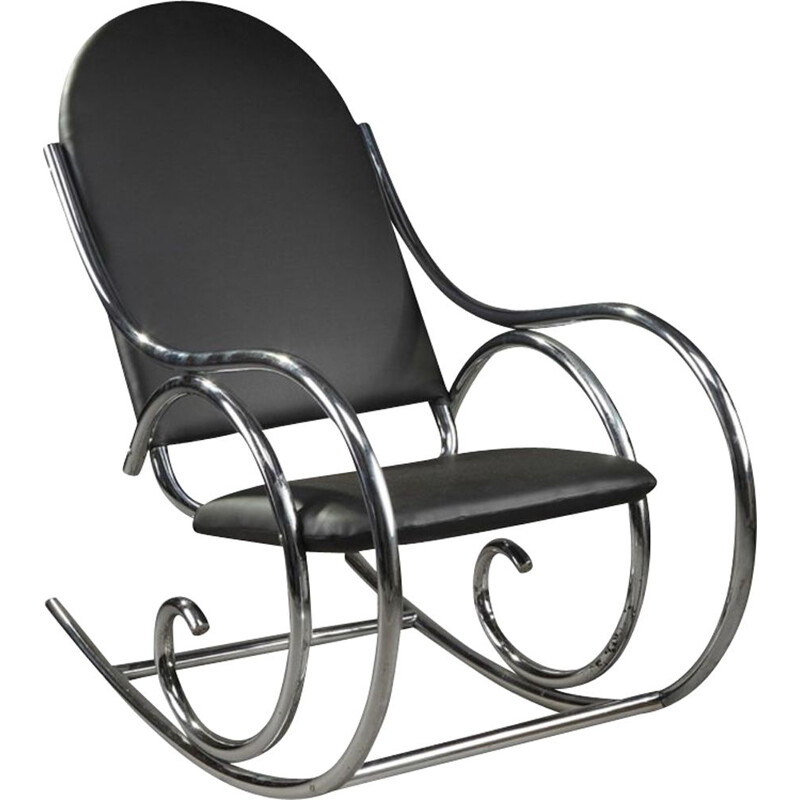 Vintage Thonet vintage metal tubular rocking chair 1950s
