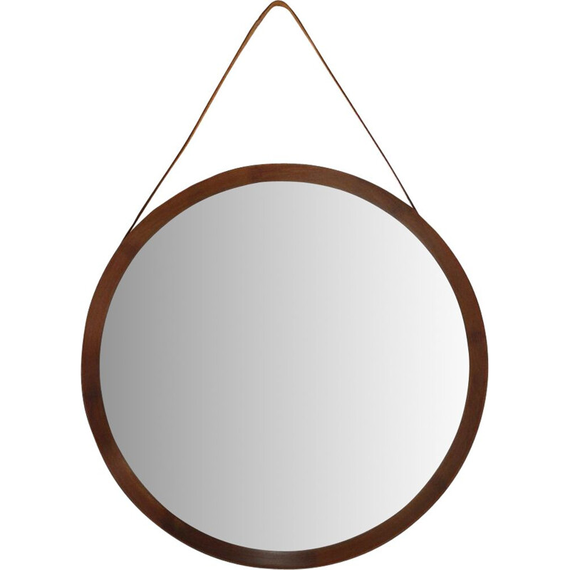 Vintage Round mirror with wooden frame 1950s