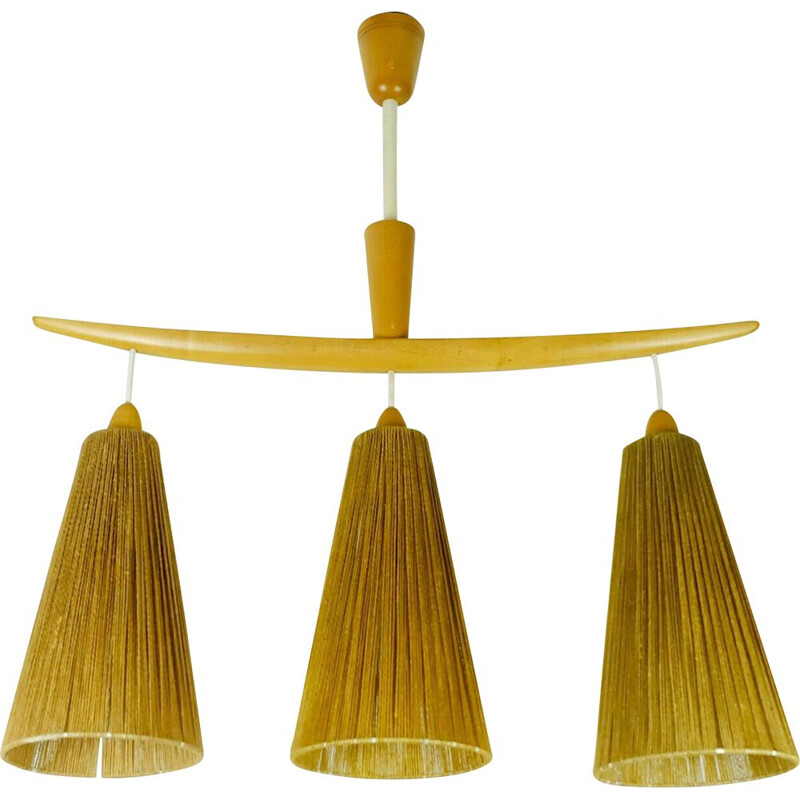 Mid-century modern 3-light Pendant lamp cherrywood and cord 1960s