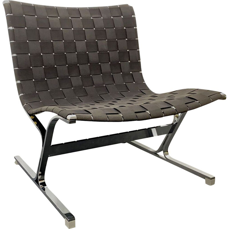 Vintage Lounge Chair black by Ross Littell for ICF de Padova Italy 1960s