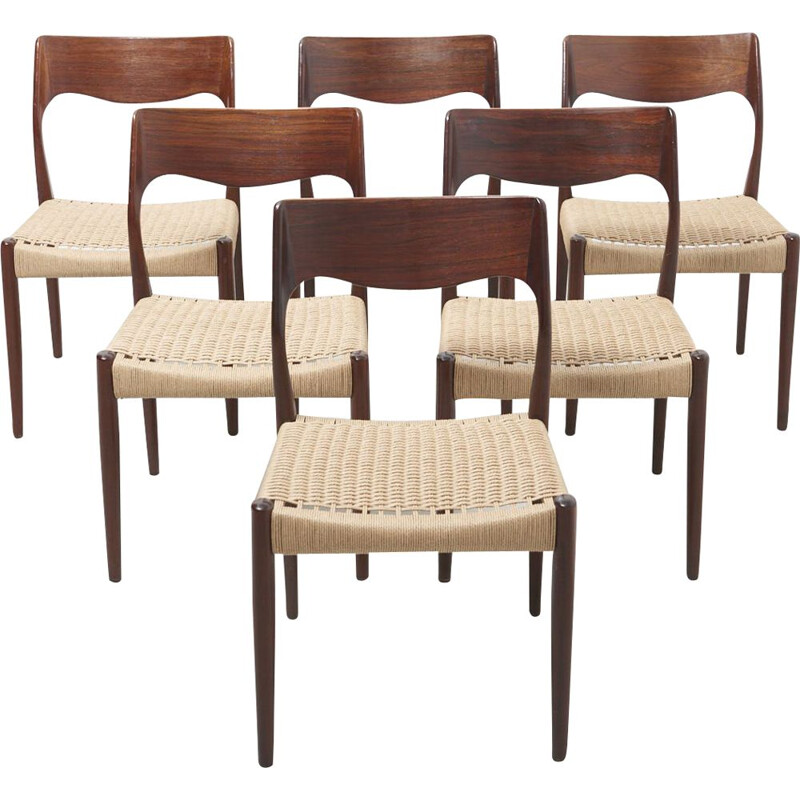 Set of 6 vintage Dining Chairs in Rosewood Denmark 1960s