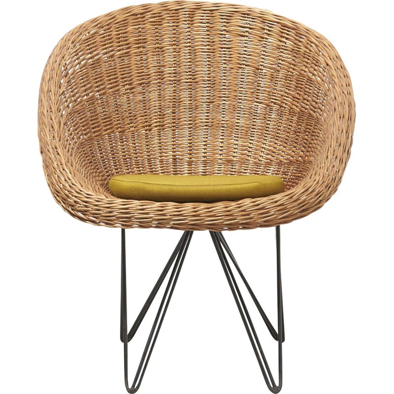 Vintage Basket Chair with Metal Legs by Teun Velthuizen for Urotan Netherlands 1950s