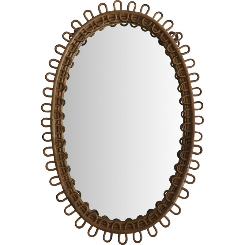 Vintage oval mirror in rattan Italy 1950