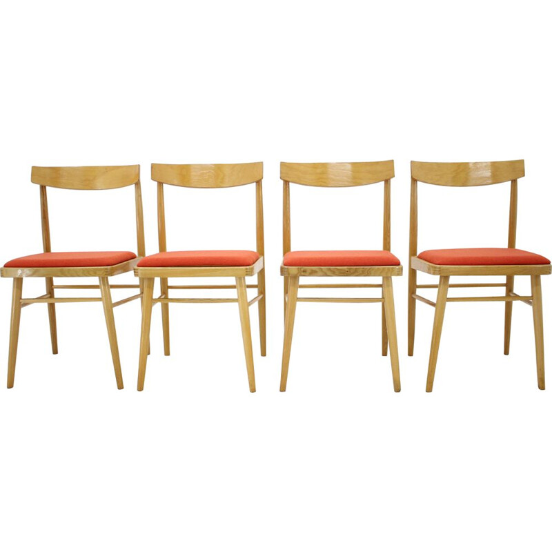 Set of 4 Mid century Dining Chairs Czechoslovakia 1970s
