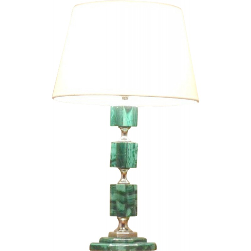 French Table Lamp In Malachite   1940s