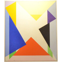 Oil painting with multicolor shapes - 1974
