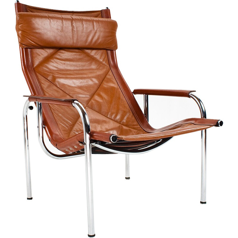 Reclining lounge chair in leather and chrome, Hans EICHENBERGER - 1970s