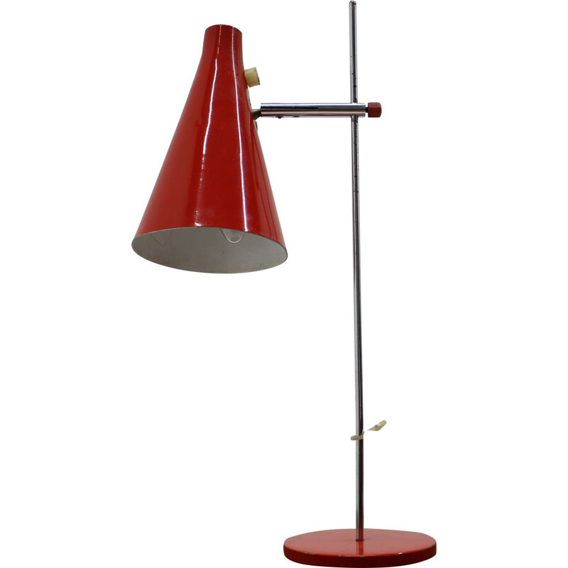 Vintage red table lamp by Josef Hurka 1960