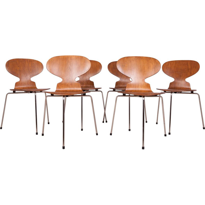 "Set of 6 vintage chairs ""ants"" by Arne Jacobsen for Fritz Hansen 1960"