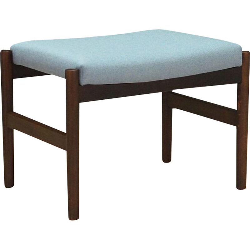 Vintage footrest in oak wood and light blue Scandinavian fabric 1970