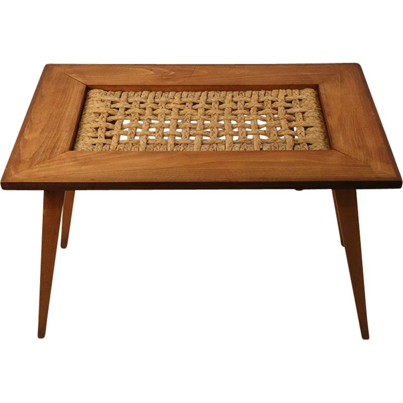 Vintage coffee table Audoux et Minet in wood and string 1950