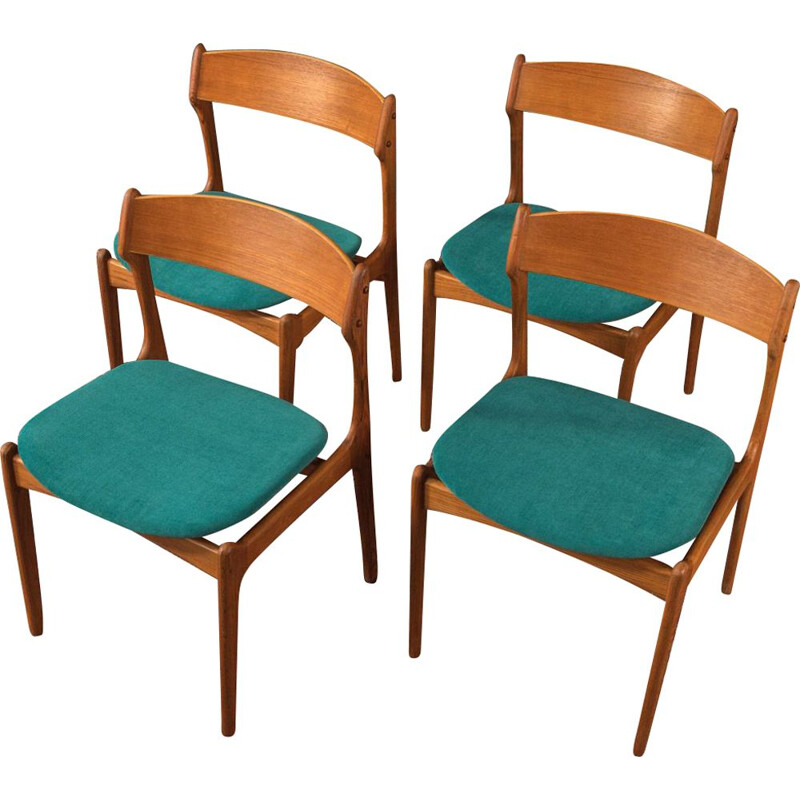4 Vintage dining room chairs O.D. Møbler 1960s