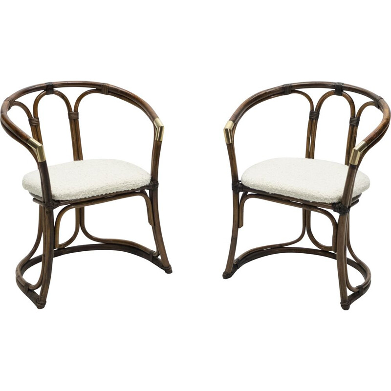 Pair of vintage bamboo brass armchairs early 1960s