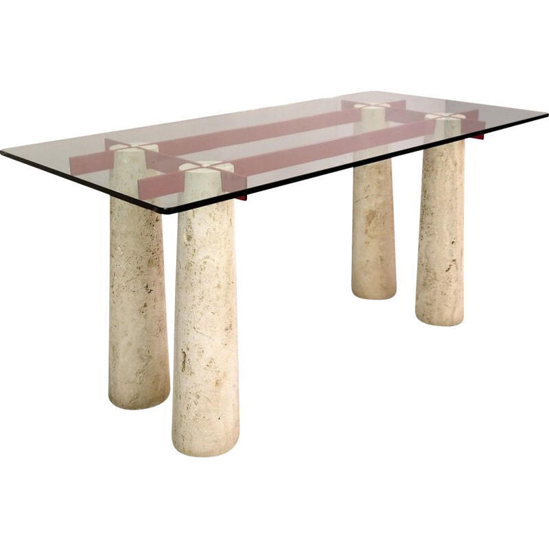 Vintage Console Table Italian Desk in Travertine And Glass