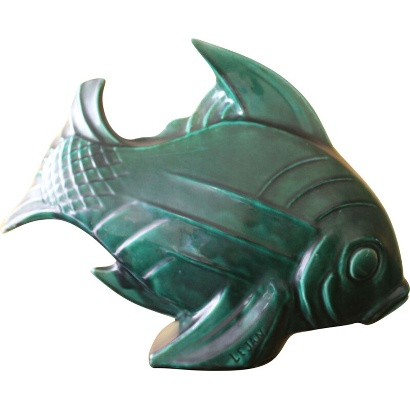Vintage Ceramic Fish, French Art Deco