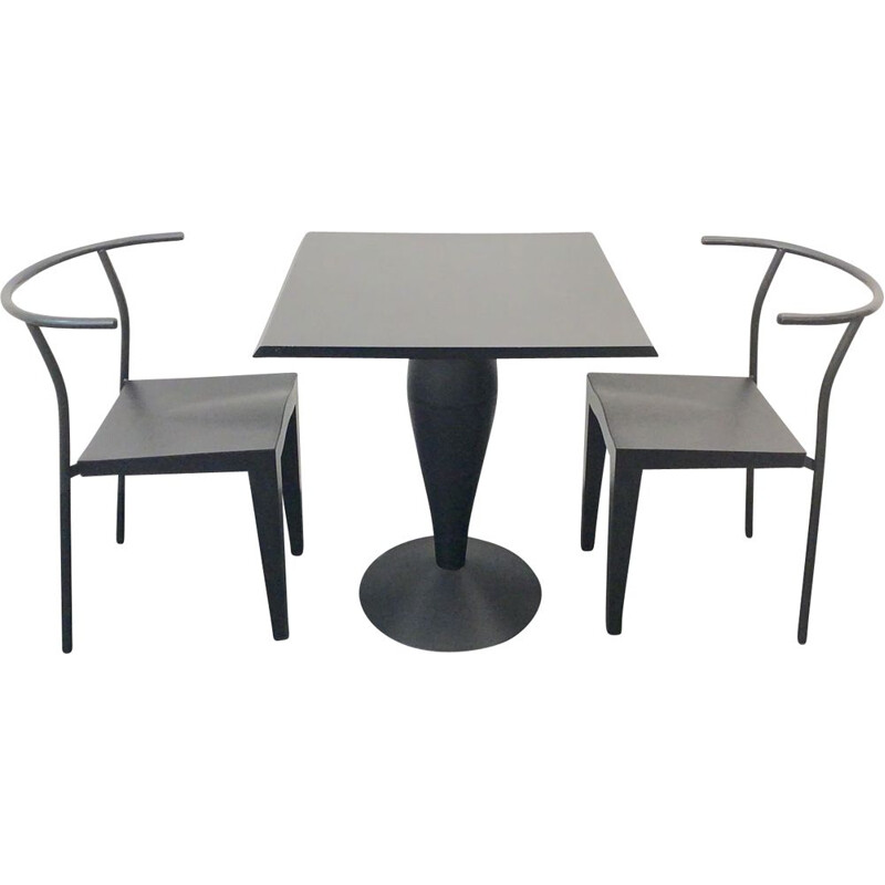 2 vintage chairs and table by Philippe Starck for Kartell, Italy, 1980s