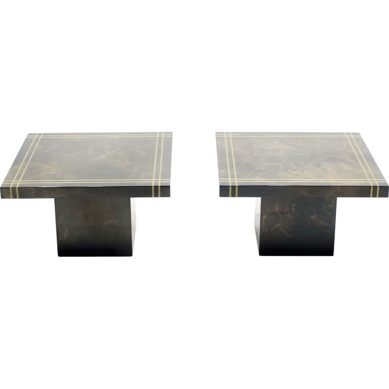 Pair of vintage brass lacquered Guy Lefevre side table for Ligne Roset 1970