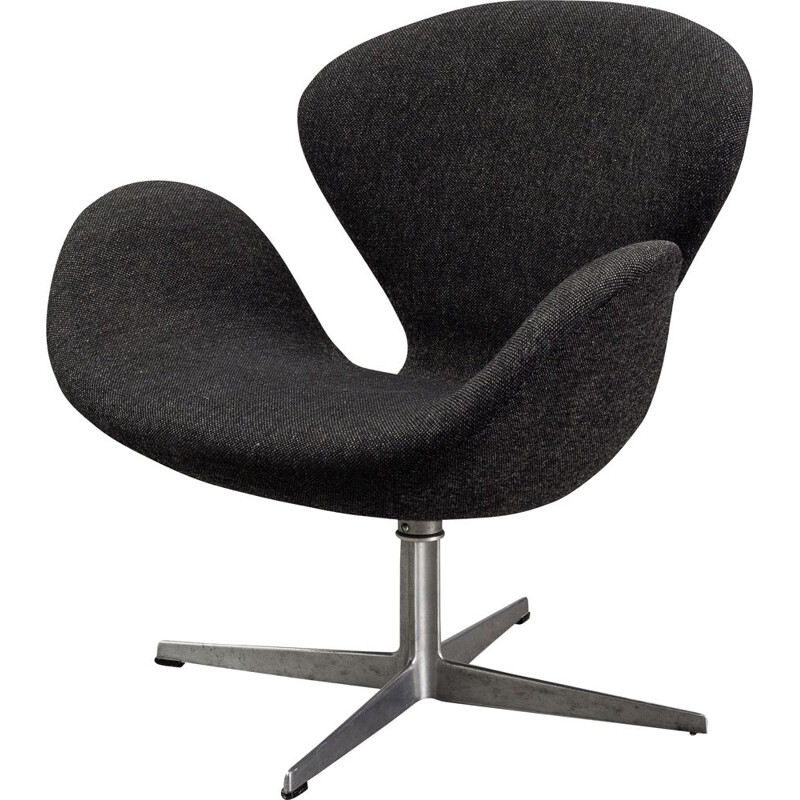"Vintage black ""Swan"" armchair by Arne Jacobsen"