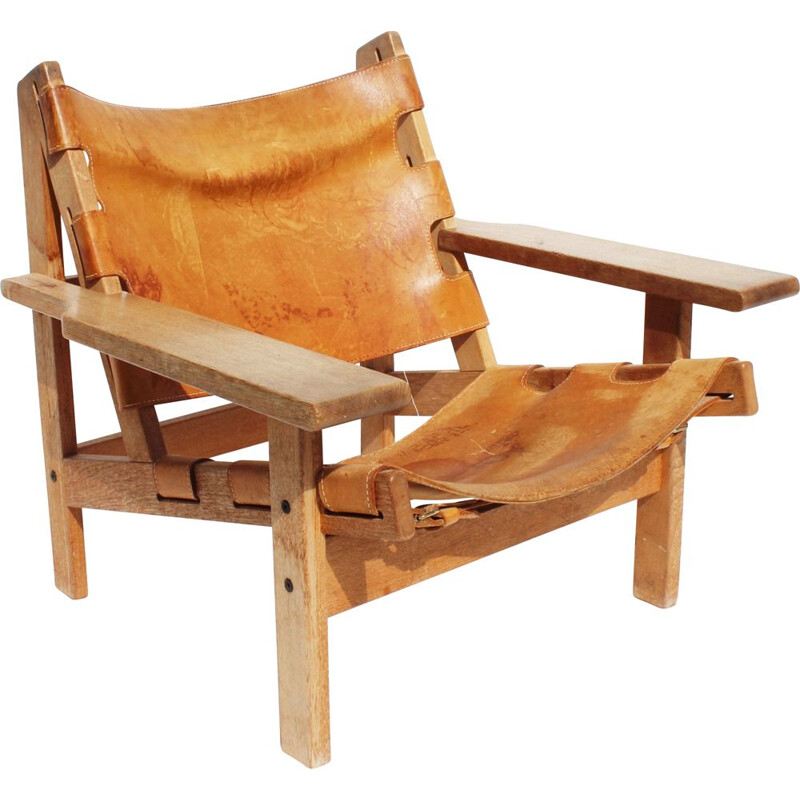 Vintage Easy chair of oak and patinated leather by Kurt Ostervig