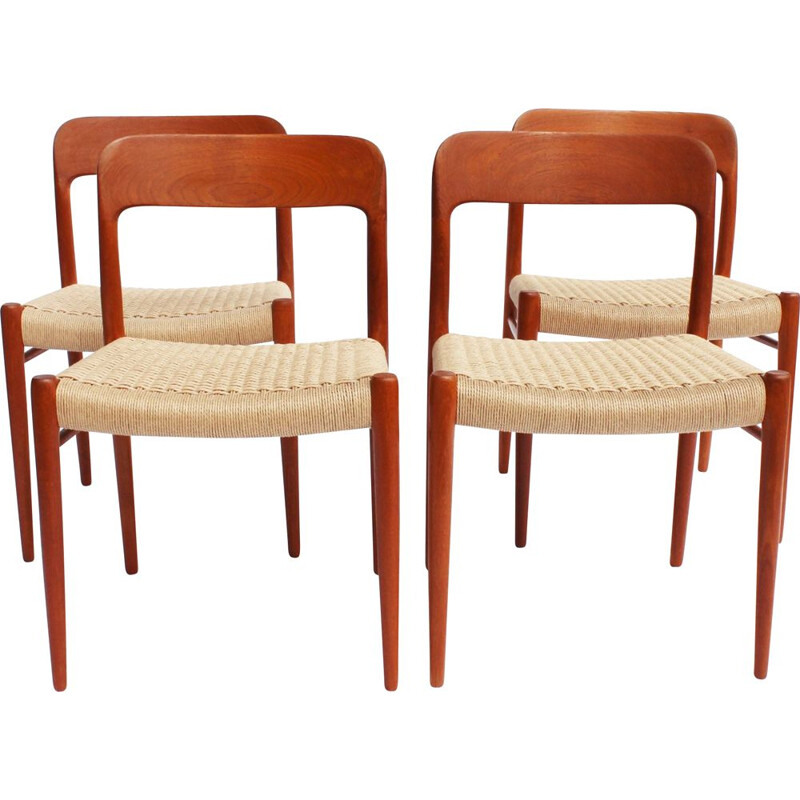 Set of 4 vintage dining chairs in teak and papercord by N.O. Moller 1960s