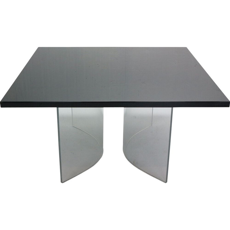 Vintage Black Square Floating Dinning Table Italy 1970s