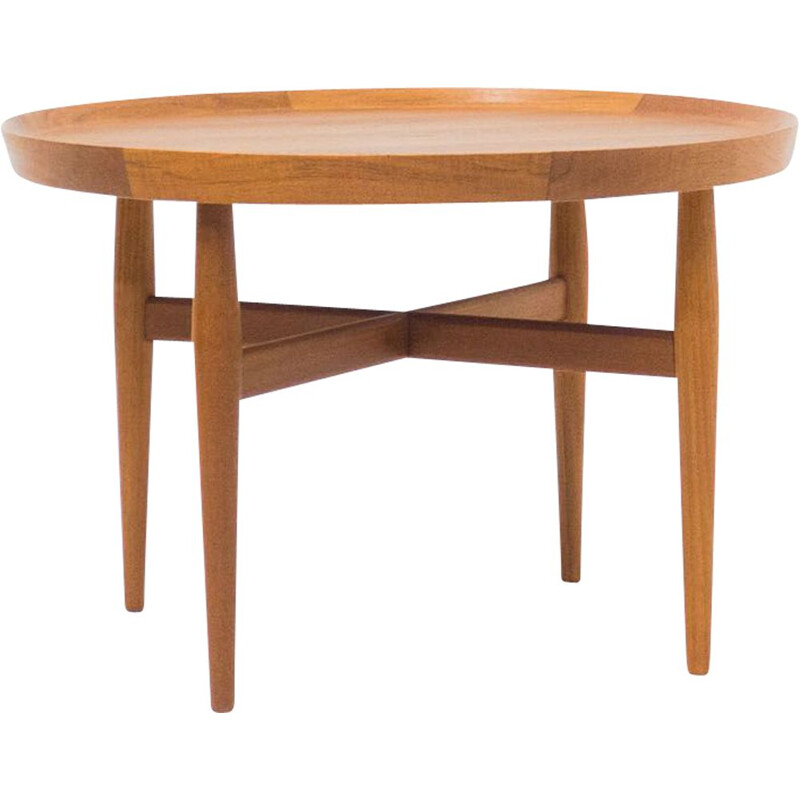 Vintage Sibast Mobler round teak coffee table by Arne Vodder