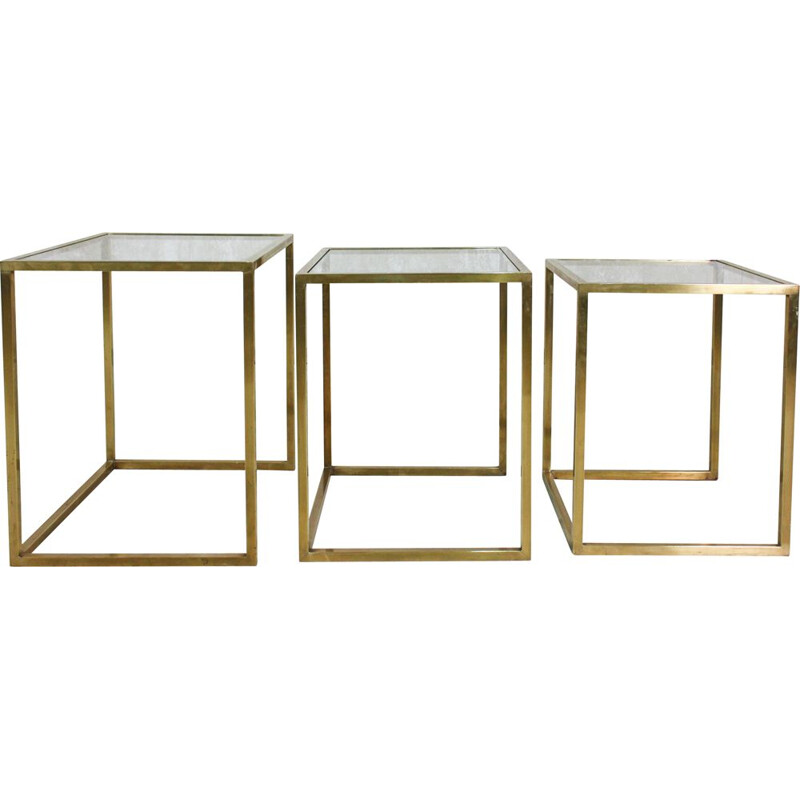 Vintage brass and glass nesting tables by Guy Lefèvre for Maison Jansen 1970