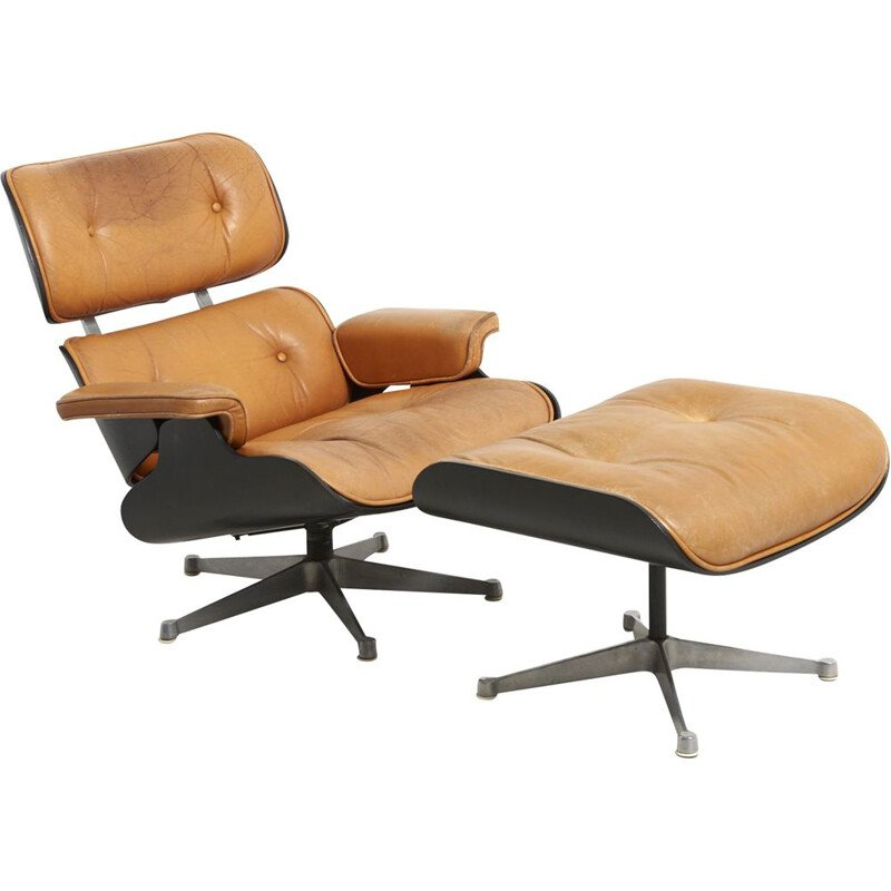 Vintage Lounge Chair with Ottoman by Charles and Ray Eames for Herman Miller USA 1950s