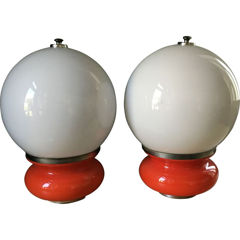 Pair of vintage lamps by Carlo Nason for Mazzega Italy 1960s