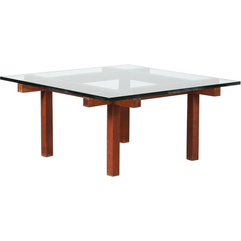 Vintage Square coffee table by Alfred Hendrickx Belgium 1950s
