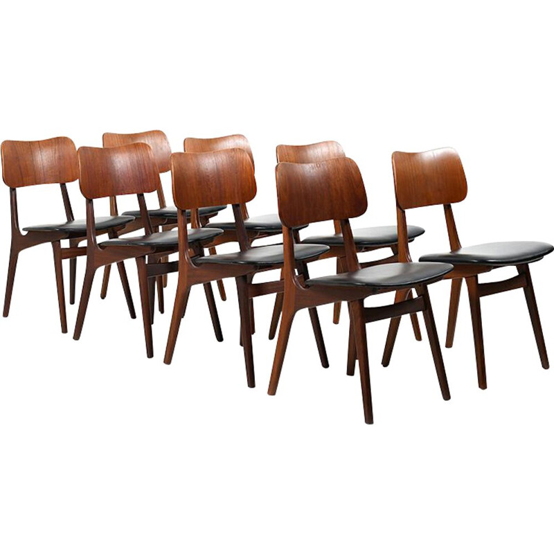 Set of 8 Mid Century Ib Kofod-Larsen Teak Dining Chairs 1950s