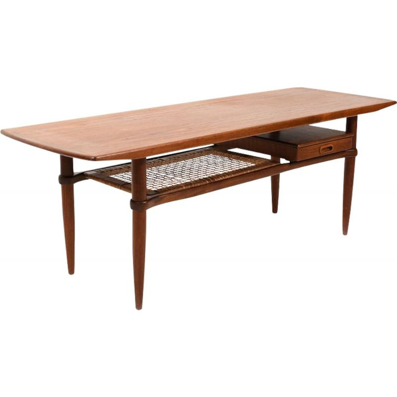 Vintage Beautiful Danish Rectangular Sofa Table in Teak 1955s