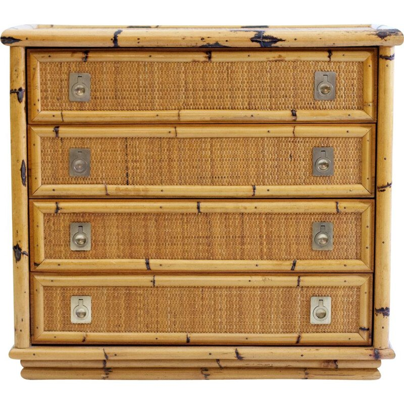 Vintage Bambooand Wicker Chest of Drawers by Dal Vera Italy 1960s