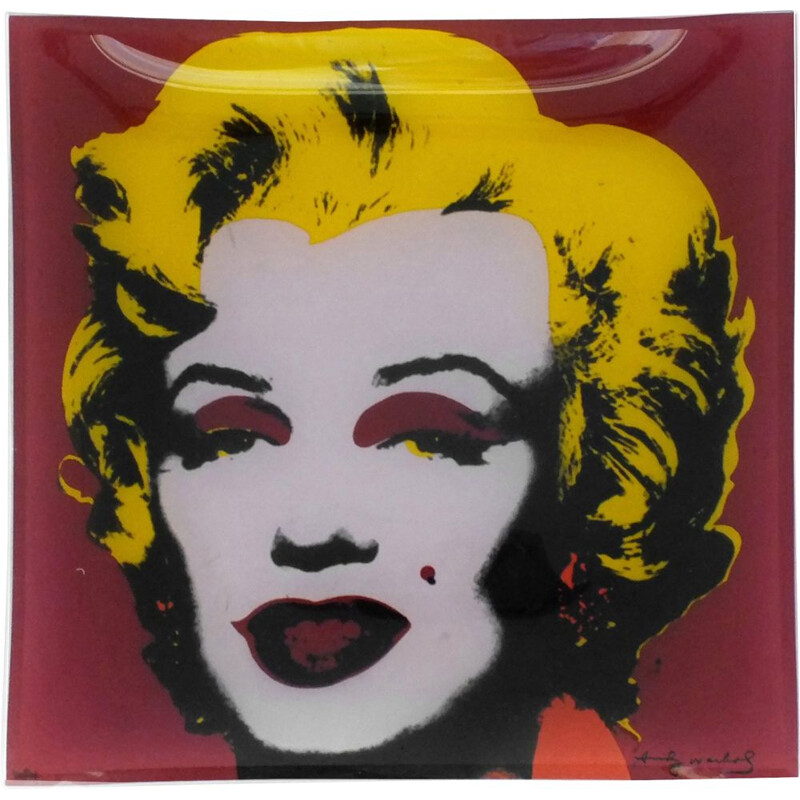 Vintage Rosenthal glass square plate celebrity series by Andy Warhol