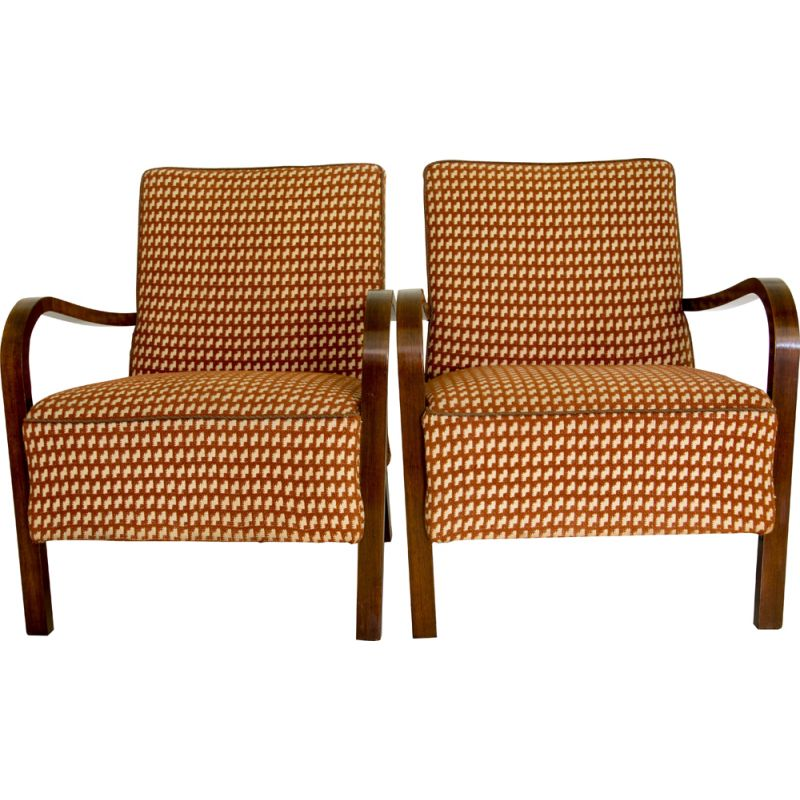 Pair of vintage Art Deco Armchairs by Halabala 1930s