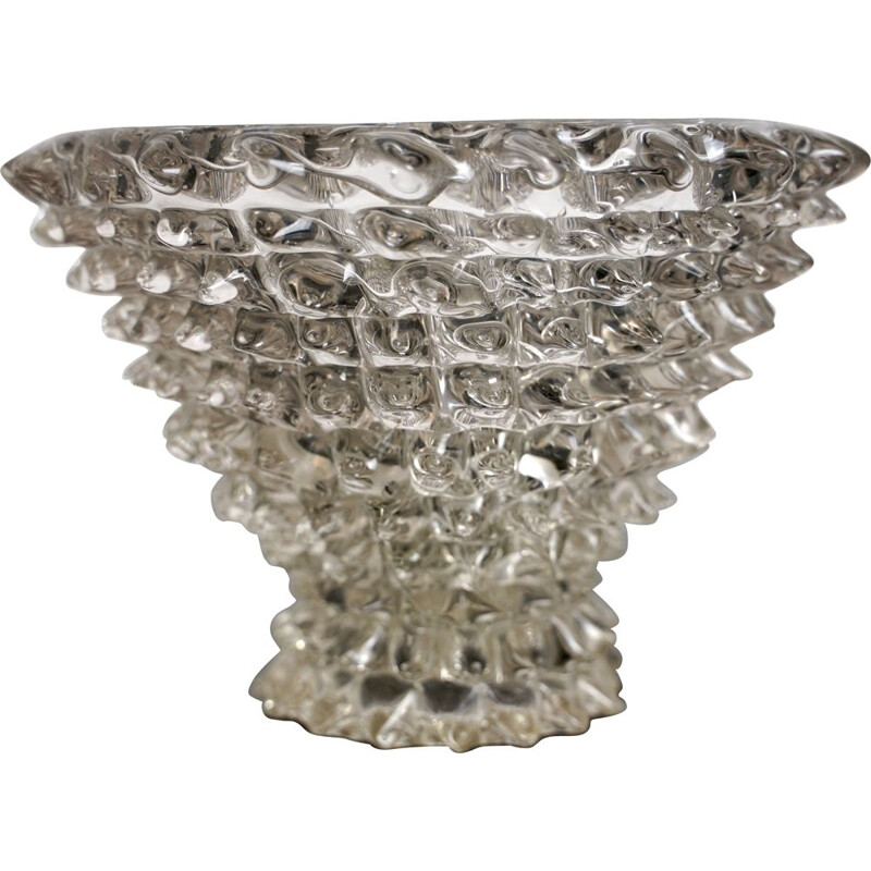 Large vintage Rostrato glass vase by Ercole Barovier 1930s