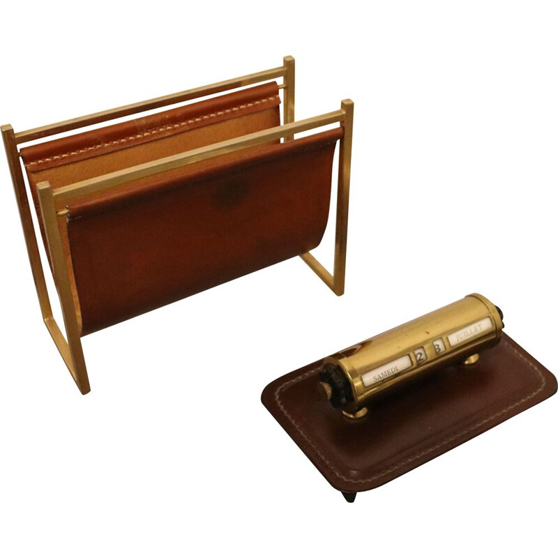 Vintage Desk accessories-  letter holder & calendar - Delvaux - Belgium - 1970s