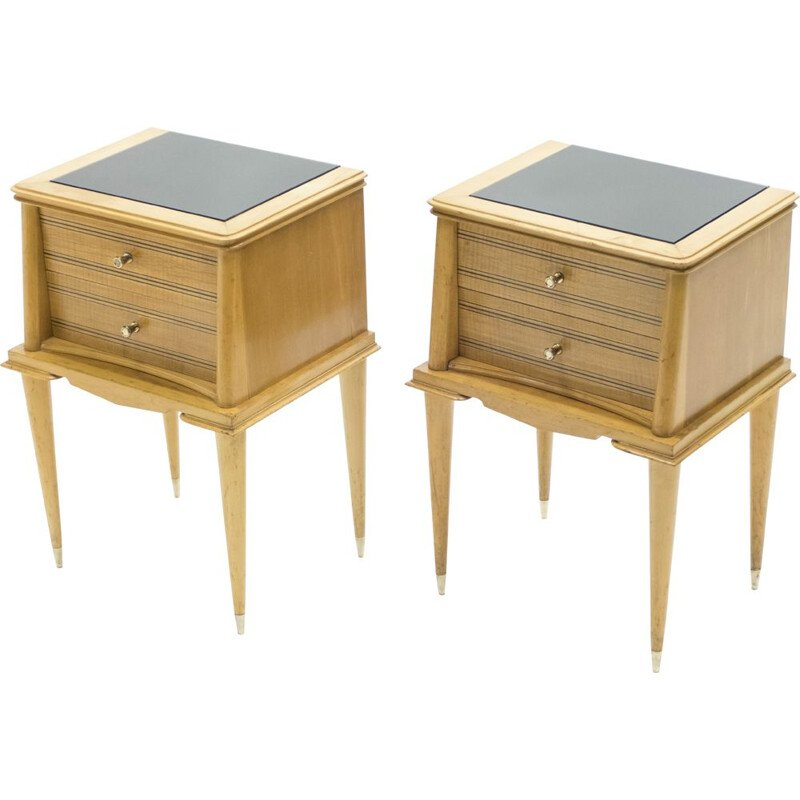 Pair of vintage Attr. brass sycamore bedside tables. Suzanne Guiguichon 1950