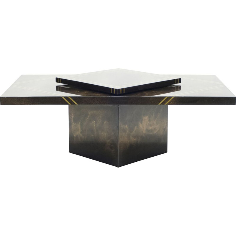 Vintage bar lacquered brass coffee table Guy Lefevre for Ligne Roset 1970