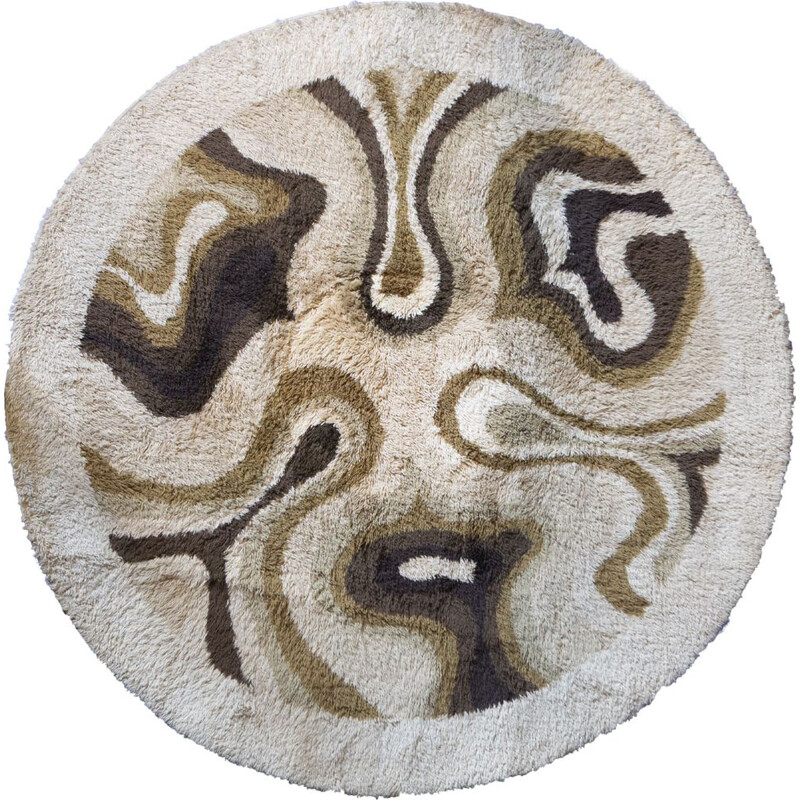 """Vintage rug with brown """"Amoebe"""" pattern by Desso"""