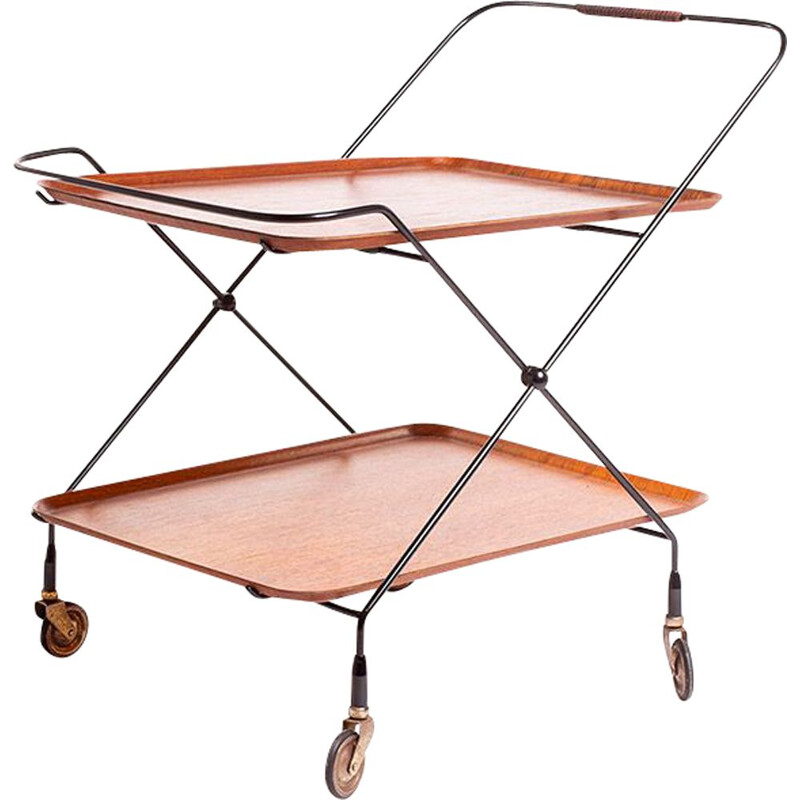 Mid century bar trolley in teak and black steel by Paul Nagel for JIE Gantofta, Swedish 1960