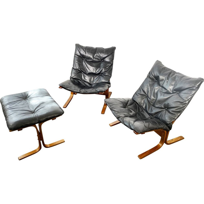 2 Siesta Leather Armchairs + Ottoman Set by Ingmar Relling for Westnofa, Norway, 1960s