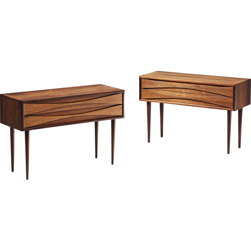 Pair of Vintage Rosewood Bedside Cabinets Niels Clausen 1960s